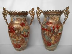Satsuma vases decorated with brass - Japan - Meji period