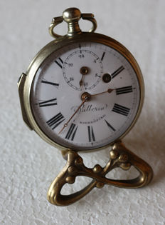 12 Wallerin Norrköping – big silver spindle / pocket watch – two dials – around 1800