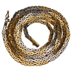 Bi-colour king's braid link necklace of 18 kt