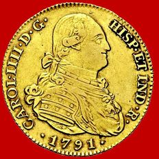 Spain – Carlos IV – 4 escudos gold coin – 1791 – Madrid. VF.