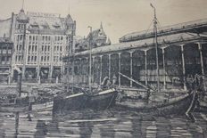 Oud Rotterdam - Three etchings - Willem Jans Dijk (1881 - 1970) and others - Haven Rotterdam, Markt Rotterdam, Boot op de Westerschelde