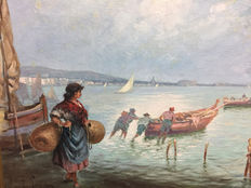 Attributable to Francesco Pecoraro (19th-20th century) - Marina con pescatori