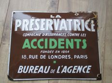 Enamel advertising sign - La Preservatrice - 1950s