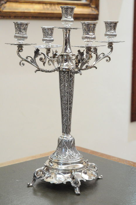 Handcrafted five-arm candelabra - Italy 1990s