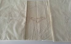 Antique frame-embroidered double sheets - entirely hand-worked  - Italy - 1940s/50s