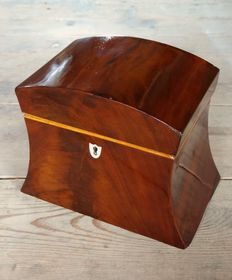 An Empire mahogany wooden tea box - the Netherlands - circa 1815/1825