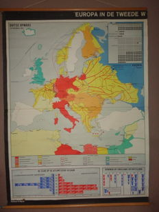 "Two old school posters /school maps on ""Europe during the Second World War, 1939 - 1945."""