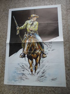"Galep - giant poster  ""Tex Willer a cavallo"" (1980s)"