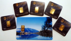 6 pcs. gold bars Nadir PIM fine gold 999.9/1000 sealed 24 Karat Goldbarren Bullion Gold LBMA certified;  1 pcs. 0.5g  Giftcard blue Sea See1,  5 pcs. Goldbars each 0.10g