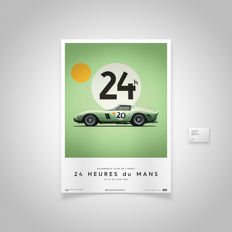Ferrari Collection - fine art print - Ferrari 250 GTO GREEN #20 - 24 Heures du Mans 1962 - 70CM X 50CM