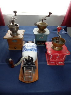 Collection of 4 old original coffee grinders from the 1950s, including one wall model
