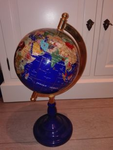 World Globe - hand-crafted, reconstituted Lapis Lazuli with semi-precious stones and gold leaf - 47cm