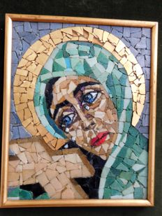 Mosaic weeping Madonna - the Netherlands - ca. 1950