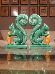 Two hand painted porcelain bookends