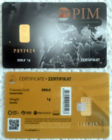 1 pcs. gold bar  1g Nadir PIM GOLD fine gold, fineness 999.9/1,000; 24 Karat, 1 gramm Goldbarren Bullion, LBMA certified,
