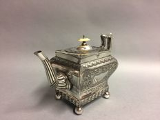 Antique Victorian tea pot in a square design with floral decoration, England, ca 1880