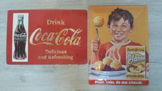 Vintage advertising signs Coca cola and Pfanni