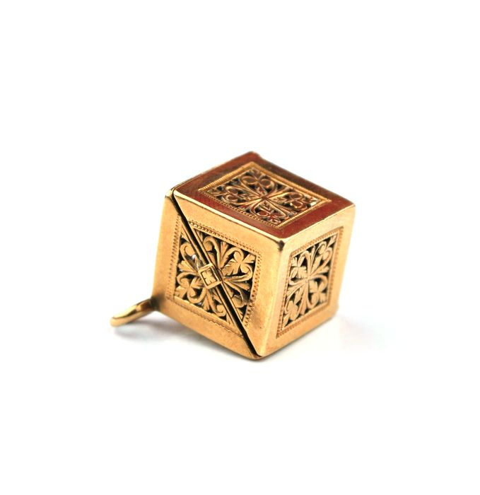 Intricately crafted 18k Gold Cube Shaped Pendant which opens to reveal hidden compartment - **No Reserve Price**