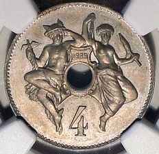 France - 4 Centimes 1889 'TM' Essai Nickel - NGC MS63