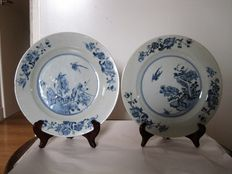Two hand-painted porcelain plates – 18th century