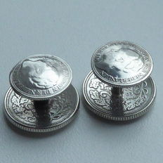 Silver cuff links made of Dutch coins 1928 + 1941