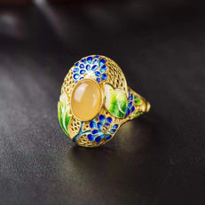 925 silver cloisonné enamel and Amber ring, weighs 8.1 grams