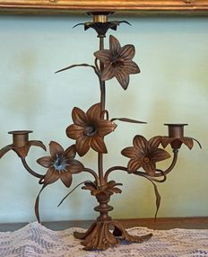 Baroque, patinated brass candle holders, altar candlesticks, Veneto, Italy early 19th century