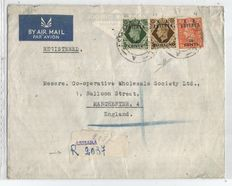 Eritrea (British Administration) 1950 - 20 cents, 75 cents, 1 shilling on letter from Asmara to Manchester