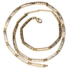 Yellow gold link necklace with a Greek pattern, 14 kt