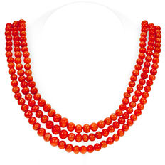 Coral, Gold, Necklace  Late Victorian (1885-1900).