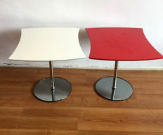Two side tables in red and white on chrome leg and glass stand, second half 20th century, Netherlands