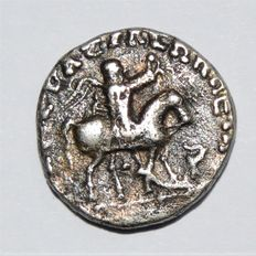 Ancient East - Indo-Skythians kingdom, Azes I (c. 58-12 BC). AR Drachm Zeus standing left holding Nike and sceptre
