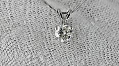 0.86 ct round diamond pendant in 14 kt white gold - 44cm ***No reserve price ***