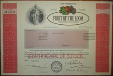 USA - Fruit of the Loom, Inc. - Share Certificate 1998 - stock certificate of famous clothing and underwear manufacturer