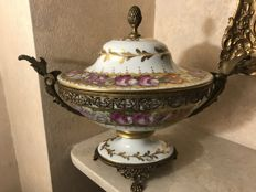 Limoges porcelain and brass centrepiece - signed - France, mid 20th century