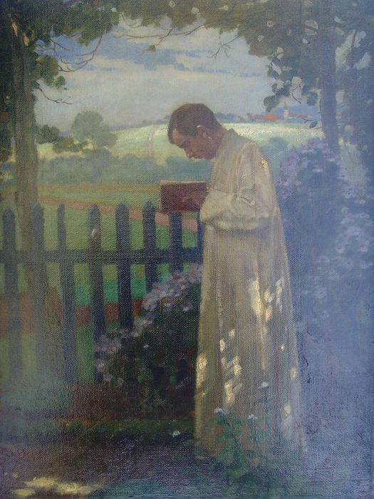 Unknown artist - Clergyman Reading in the Garden