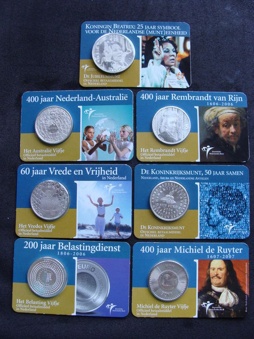The Netherlands - 5 and 10 Euro coins 2004/2007 (7 different coins) in coin cards - silver