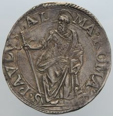 Papal State – Testone Year VII Paul V (1605–1621) – Silver