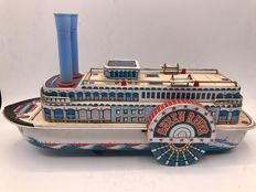 "Masudaya, Japan - Length 34 cm - Tin ""Queen River"" Paddlewheel boat with a  battery motor, Period 1960"