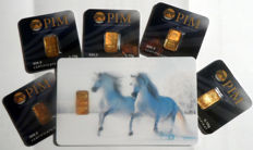 6 pieces Nadir PIM gold bar fine gold purity of 999.9/1000 24 carat gold bar bullion in cheque card format - 1 gift card motif white horses 1/2 grams and 5 pieces 0,10 g LBMA certified.