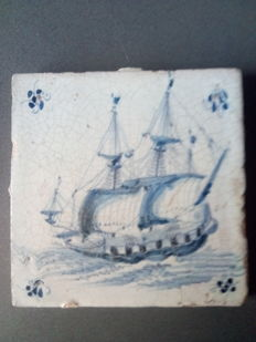 Tile with a tall ship