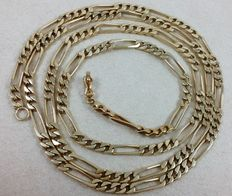 Figaro chain necklace in 18 kt (750/1000) yellow gold weighing: 49.6 g with the exceptional length of 82 cm