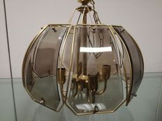 Vintage brass and glass lamp shade