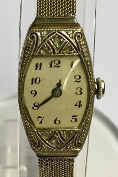 White gold women's wristwatch with Milanese strap - brand Eszeha - approx. 1925