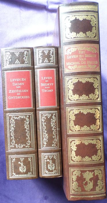 Maritime; Lot with facsimiles about 3 books from the 17th century, i.e. about Tromp , Michiel de Ruyter, maritime heroes and explorers - 3 books - 1990/2008