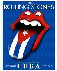 The Rolling Stones Havana Cuba Tongue Flag Lips Concert Poster Lithograph & Concert T-shirt; The 2017 Rolling Stones Calendar with Great Photos