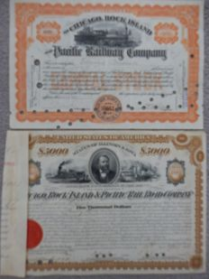 Pack of 2 deco train bond/certificates from U.S.A., Chicago Rock Island and Pacific Railroad Company