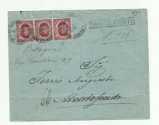 San Marino, 1892/94 - Stamped envelope with line of 3 dark carmine 15 cent from San Marino to Montescudo.