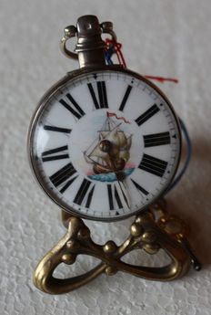 22 Joshuah Robson Coundon – silver spindel watch - maritime enamel painting from England circa 1800