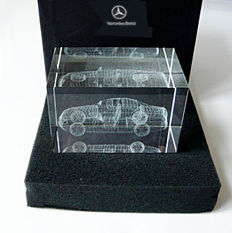 The New S-class - in glass. A beautyful and elegant resemblance from the mediapresentation of a new Mercedes-Benz S-class, probably 2002